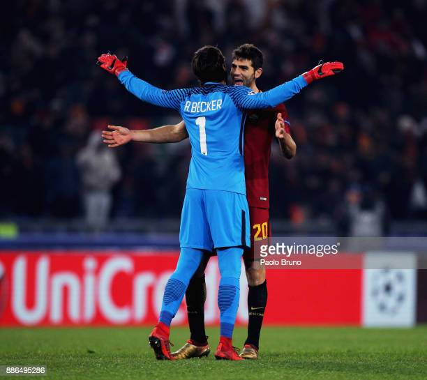 Roma goalkeeper Alisson Becker and Federico Fazio celebrate the victory after the UEFA Champions League group C match between AS Roma and Qarabag FK...