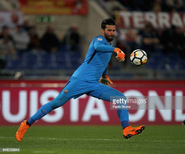 Roma goalkeeper Alisson Becker in action during the serie A match between AS Roma and Genoa CFC at Stadio Olimpico on April 18 2018 in Rome Italy