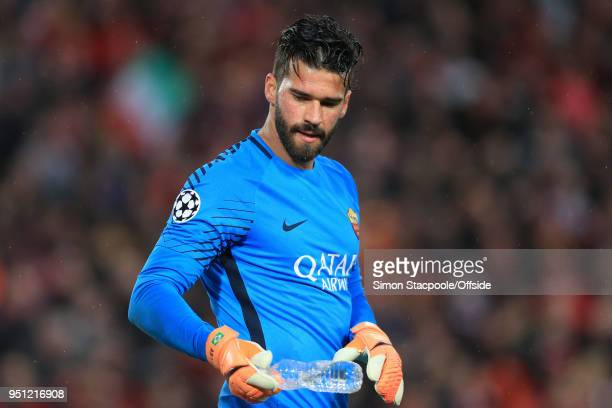 Roma goalkeeper Alisson Becker looks on during the UEFA Champions League Semi Final First Leg match between Liverpool and AS Roma at Anfield on April...