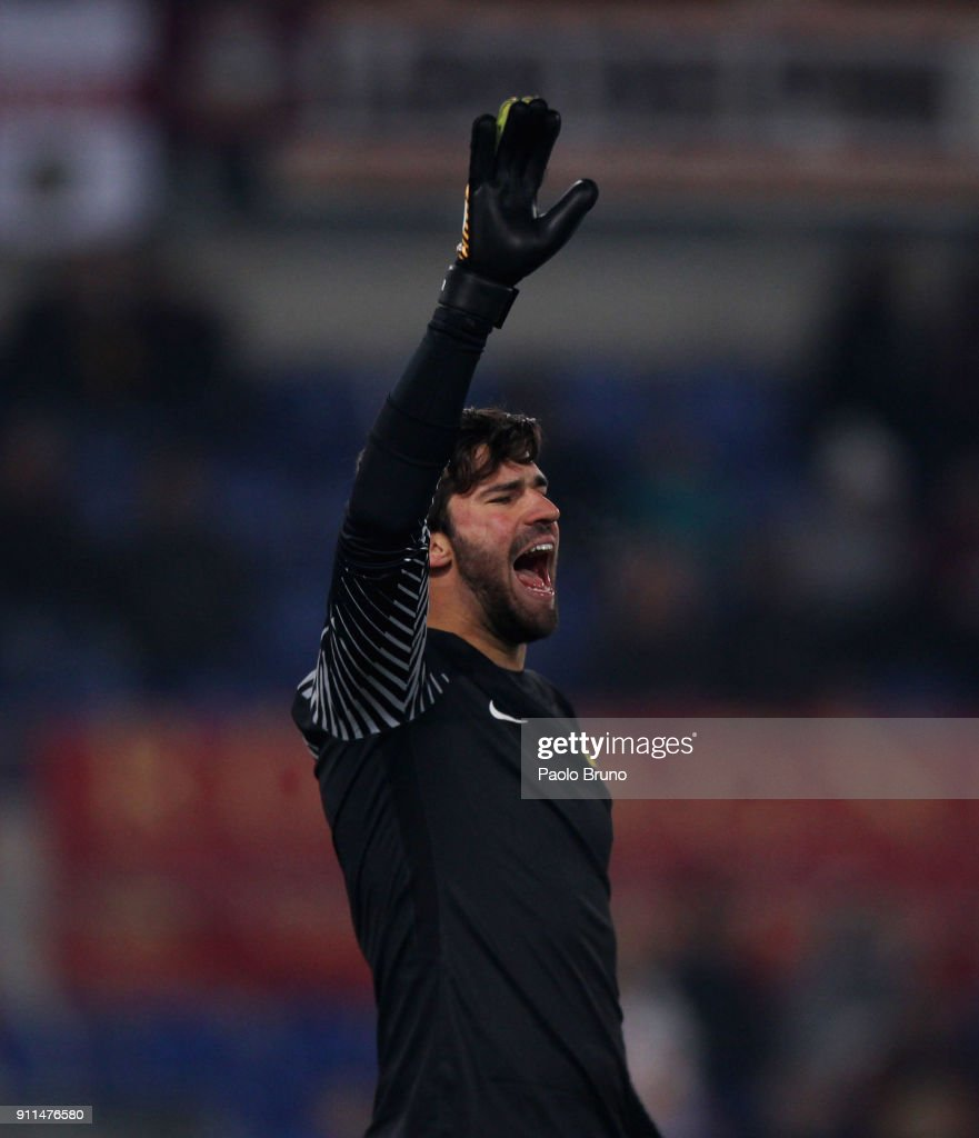 AS Roma goalkeeper Alisson Becker reacts during the serie A match between AS Roma and UC Sampdoria at Stadio Olimpico on January 28, 2018 in Rome, Italy.