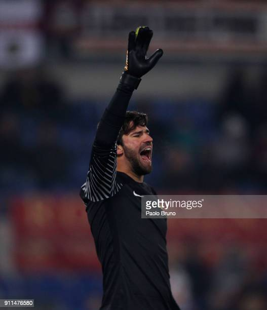 Roma goalkeeper Alisson Becker reacts during the serie A match between AS Roma and UC Sampdoria at Stadio Olimpico on January 28 2018 in Rome Italy