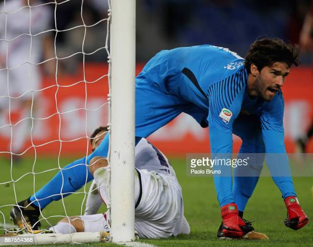Roma goalkeeper Alisson in action during the Serie A match between AS Roma and Bologna FC at Stadio Olimpico on October 28 2017 in Rome Italy