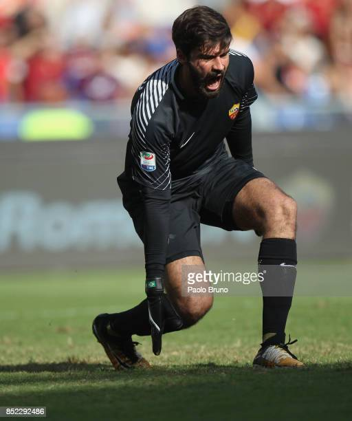 Roma goalkeeper Alisson reacts during the Serie A match between AS Roma and Udinese Calcio at Stadio Olimpico on September 23 2017 in Rome Italy