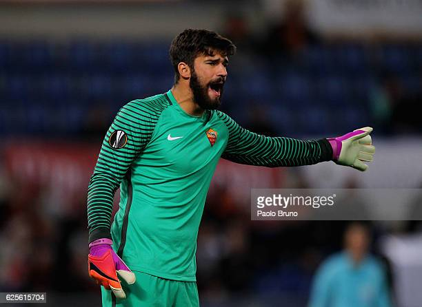 Roma goalkeeper Allison Becker gestures during the UEFA Europa League match between AS Roma and FC Viktoria Plzen at Olimpico Stadium on November 24...
