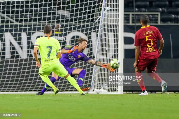 Roma goalkeeper Antonio MIRANTE makes a save on a shot by FC Barcelona forward Abel Ruiz during the International Champions Cup between FC Barcelona...