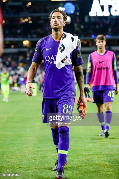 Roma goalkeeper Antonio Mirante walks off the field after the game between FC Barcelona and AS Roma on July 31 2018 at ATT Stadium in Arlington Texas...