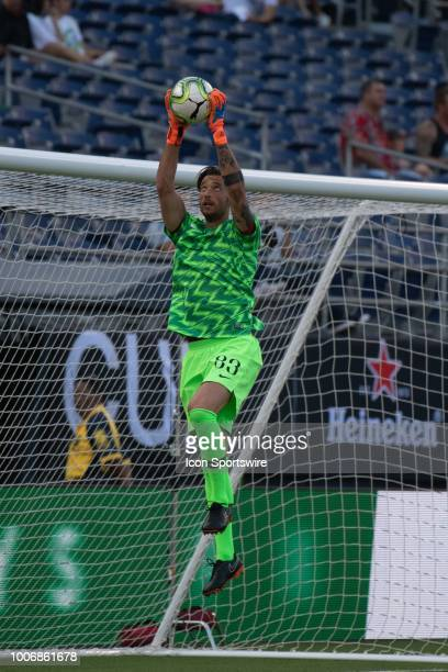 Roma goalkeeper Antonio Mirante warms up before an International Champions Cup match between AS Roma and Tottenham Hotspur FC on July 25 2018 at...