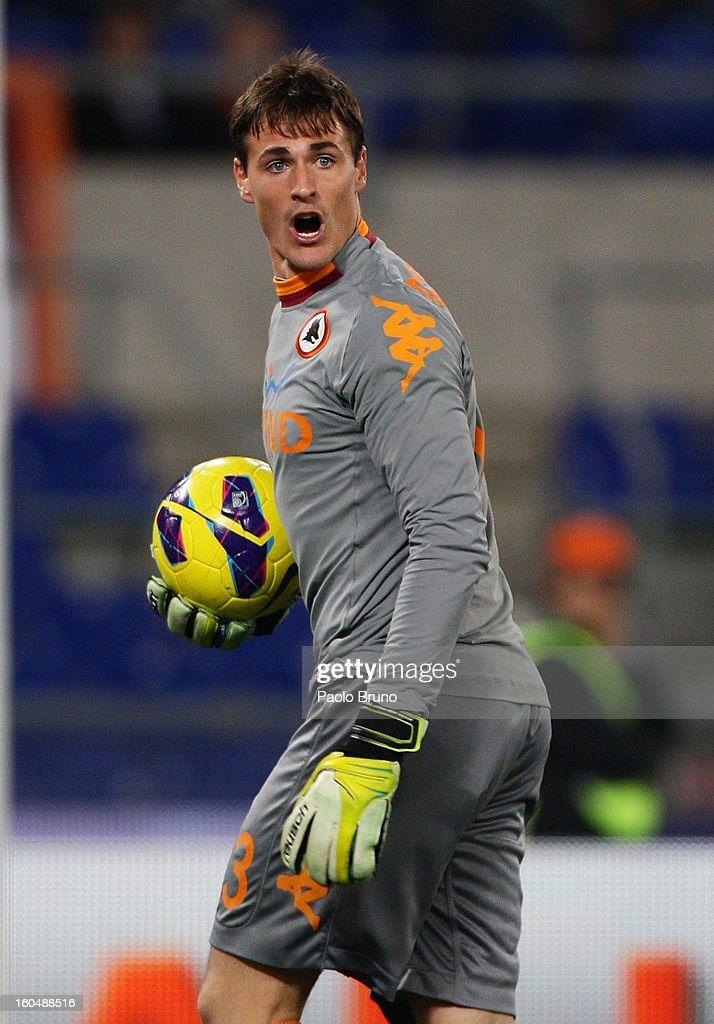 AS Roma goalkeeper Mauro Goicoechea reacts after his owngoal during the Serie A match between AS Roma and Cagliari Calcio at Stadio Olimpico on February 1, 2013 in Rome, Italy.