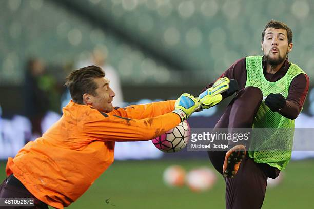 Roma Goalkeeper Morgan De Sanctis stops the ball from Mattia Destro during an AS Roma training session at Melbourne Cricket Ground on July 17 2015 in...