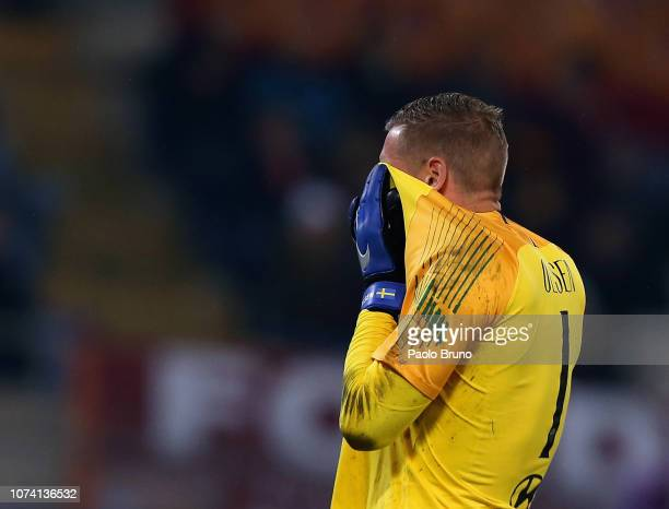 Roma goalkeeper Patrick Robin Olsen reacts during the Serie A match between AS Roma and Genoa CFC at Stadio Olimpico on December 16 2018 in Rome Italy
