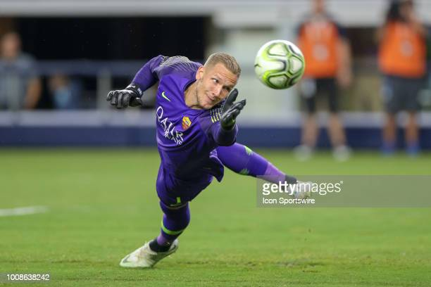 Roma goalkeeper Roben OLSEN dives for a ball during the International Champions Cup between FC Barcelona and AS Roma on July 31 2018 at ATT Stadium...