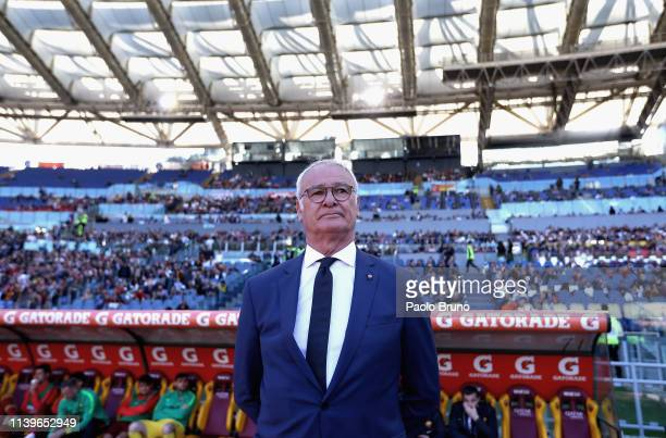 Roma head coach Claudio Ranieri looks on during the Serie A match between AS Roma and Cagliari at Stadio Olimpico on April 27 2019 in Rome Italy