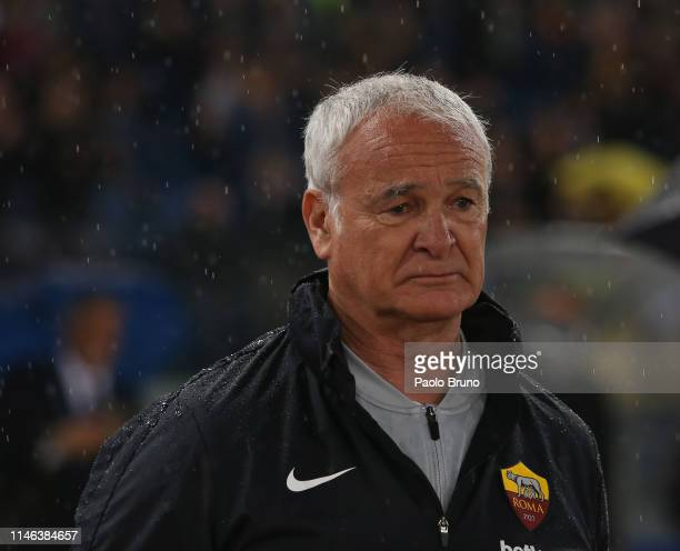 Roma head coach Claudio Ranieri looks on during the Serie A match between AS Roma and Parma Calcio at Stadio Olimpico on May 26 2019 in Rome Italy