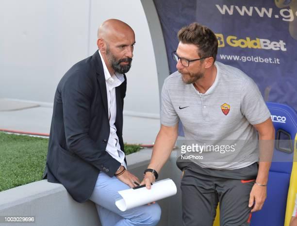 AS Roma head coach Eusebio Di Francesco and AS Roma Sport Director Ramón Rodríguez Verdejo Monchi during the PreSeason Friendly match between AS Roma...