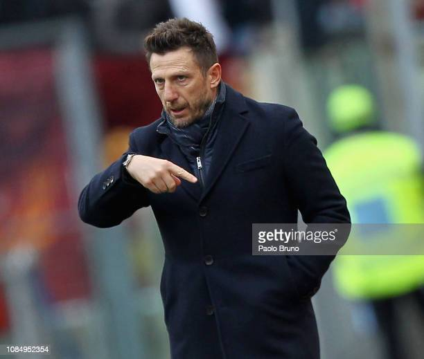 Roma head coach Eusebio Di Francesco gestures during the Serie A match between AS Roma and Torino FC at Stadio Olimpico on January 19 2019 in Rome...