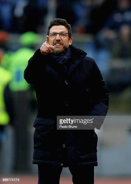 Roma head coach Eusebio Di Francesco gestures during the serie A match between AS Roma and US Sassuolo at Stadio Olimpico on December 30 2017 in Rome...