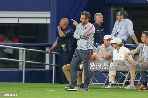 Roma head coach Eusebio Di Francesco gestures from the sideline during the International Champions Cup between FC Barcelona and AS Roma on July 31...