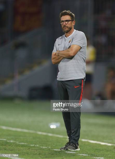 Roma head coach Eusebio Di Francesco looks on during the PreSeason Friendly match between AS Roma and Avellino at Stadio Benito Stirpe on July 20...