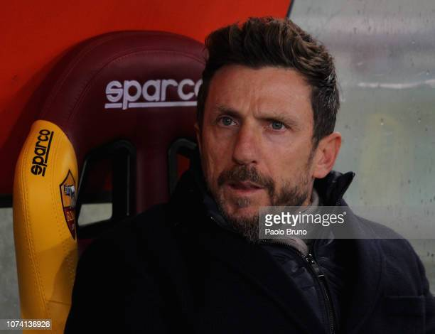 Roma head coach Eusebio Di Francesco looks on during the Serie A match between AS Roma and Genoa CFC at Stadio Olimpico on December 16 2018 in Rome...
