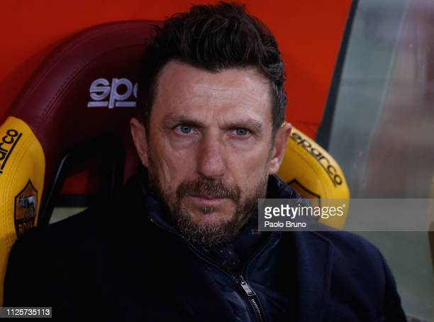 Roma head coach Eusebio Di Francesco looks on during the Serie A match between AS Roma and Bologna FC at Stadio Olimpico on February 18 2019 in Rome...