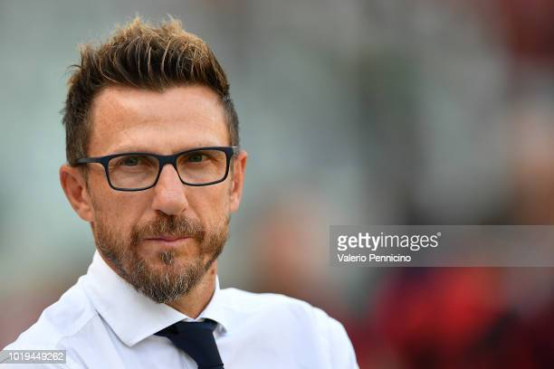 Roma head coach Eusebio Di Francesco looks on during the Serie A match between Torino FC and AS Roma at Stadio Olimpico di Torino on August 19 2018...