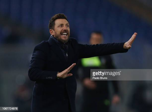 Roma head coach Eusebio Di Francesco reacts during the Serie A match between AS Roma and FC Internazionale at Stadio Olimpico on December 2 2018 in...