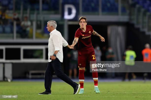 Roma head coach Jose' Mourinho and Nicolo' Zaniolo react after the UEFA Conference League Play-Offs Leg Two match between AS Roma and Trabzonspor at...