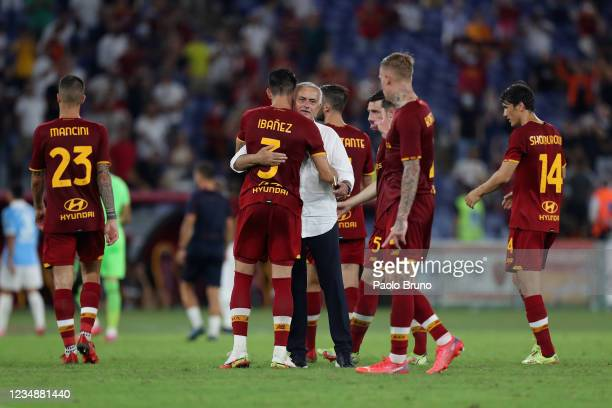 Roma head coach Jose' Mourinho with his players celebrate the victory after the UEFA Conference League Play-Offs Leg Two match between AS Roma and...