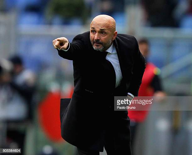 Roma head coach Luciano Spalletti gestures during the Serie A match between AS Roma and Hellas Verona FC at Stadio Olimpico on January 17 2016 in...