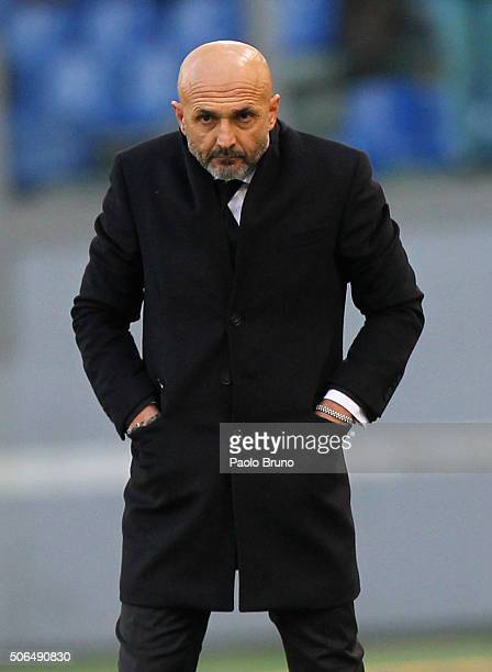 Roma head coach Luciano Spalletti looks on during the Serie A match between AS Roma and Hellas Verona FC at Stadio Olimpico on January 17 2016 in...