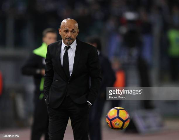 Roma head coach Luciano Spalletti looks on during the TIM Cup match between SS Lazio and AS Roma at Olimpico Stadium on March 1 2017 in Rome Italy