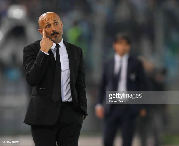 Roma head coach Luciano Spalletti reacts during the TIM Cup match between AS Roma and SS Lazio at Stadio Olimpico on April 4 2017 in Rome Italy