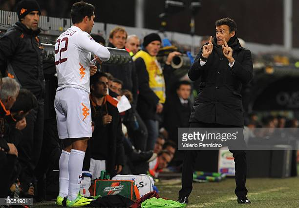 Roma head coach Luis Enrique issues instructions to Marco Borriello during the Serie A match between Genoa CFC and AS Roma at Stadio Luigi Ferraris...
