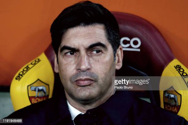 Roma head coach Paulo Fonseca looks on during the Serie A match between AS Roma and Torino FC at Stadio Olimpico on January 5 2020 in Rome Italy