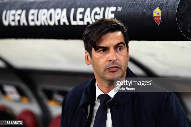 Roma head coach Paulo Fonseca looks on during the UEFA Europa League group J match between AS Roma and Wolfsberger AC at Stadio Olimpico on December...