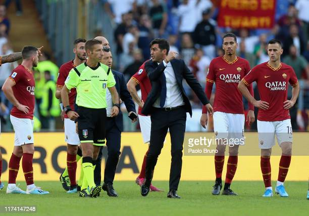 Roma head coach Paulo Fonseca protests against the referee Davide Massa during the Serie A match between AS Roma and Cagliari Calcio at Stadio...