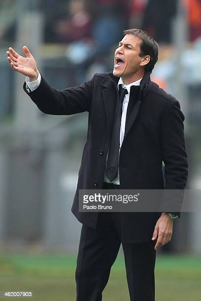 Roma head coach Rudi Garcia gestures during the Serie A match between AS Roma and Genoa CFC at Stadio Olimpico on January 12 2014 in Rome Italy