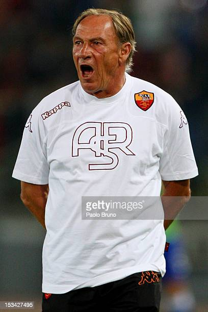 Roma head coach Zdenek Zeman shouts during the Serie A match between AS Roma and UC Sampdoria at Stadio Olimpico on September 26 2012 in Rome Italy