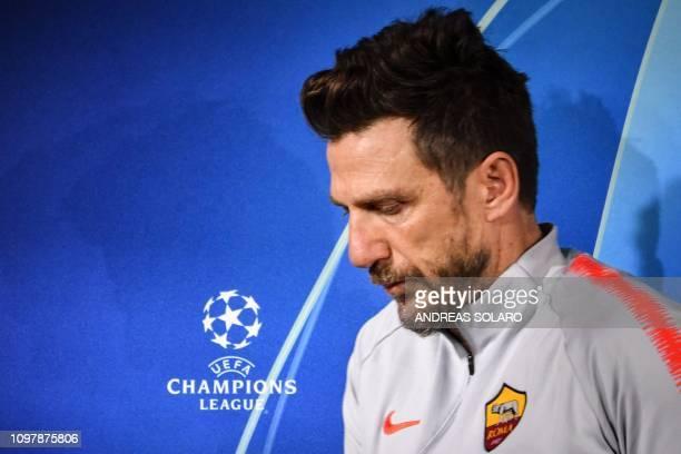 AS Roma Italian coach Eusebio Di Francesco arrives for a press conference on February 11 2019 at AS Roma's training ground in Trigoria south of Rome...