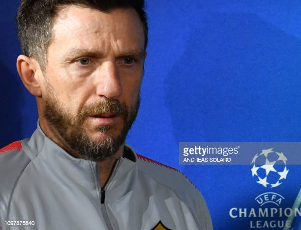 AS Roma Italian coach Eusebio Di Francesco attends a press conference on February 11 2019 at AS Roma's training ground in Trigoria south of Rome on...