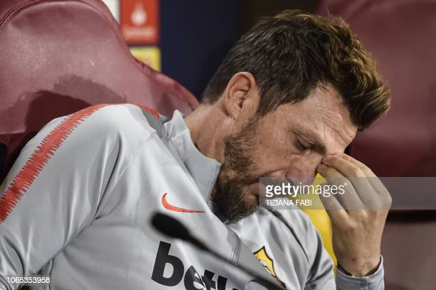 AS Roma Italian coach Eusebio Di Francesco ponders during a press conference on the eve of the UEFA Champions League group G football match AS Rome...