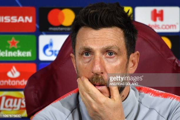 AS Roma Italian coach Eusebio Di Francesco ponders during a press conference on February 11 2019 at AS Roma's training ground in Trigoria south of...