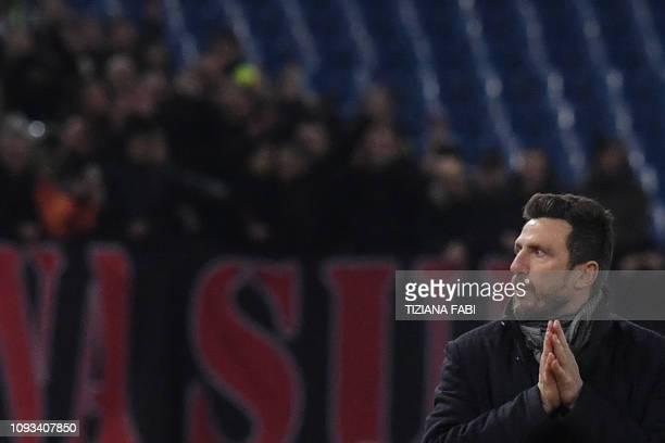 AS Roma Italian coach Eusebio Di Francesco reacts during the Italian Serie A football match AS Roma vs AC Milan on February 3 2019 at the Olympic...
