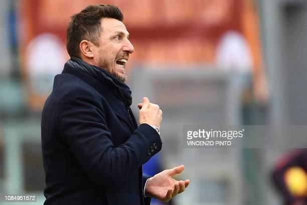 AS Roma Italian coach Eusebio Di Francesco shouts instructions during the Italian Serie A football match AS Roma vs Torino on January 19 2019 at the...