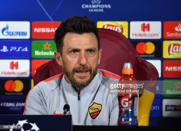 AS Roma Italian coach Eusebio Di Francesco speaks during a press conference on February 11 2019 at AS Roma's training ground in Trigoria south of...