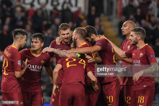 AS Roma Italian forward Stephan El Shaarawy AS Roma Turkish forward Cengiz Under AS Roma Bosnian forward Edin Dzeko AS Roma Italian midfielder...