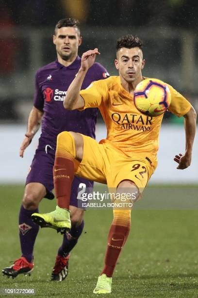 Roma Italian forward Stephan El Shaarawy controls the ball ahead of Fiorentina's French defender Vincent Laurini during the Italian Tim Cup round of...
