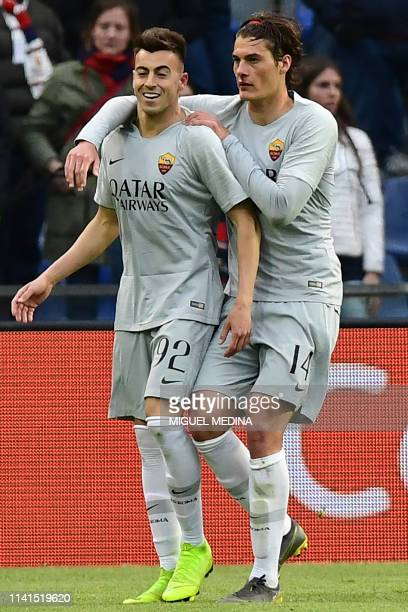 AS Roma Italian forward Stephan El Shaarawy is congratulated by AS Roma Czech forward Patrik Schick after scoring a goal during the Italian Serie A...
