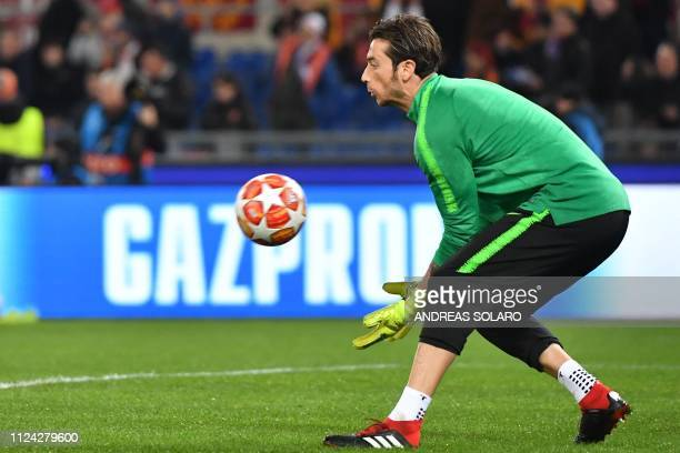 AS Roma Italian goalkeeper Antonio Mirante warms up prior to the UEFA Champions League round of 16 first leg football match AS Roma vs FC Porto on...