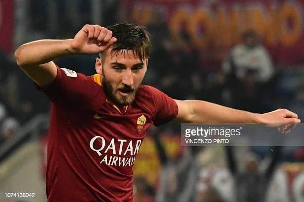 AS Roma Italian midfielder Bryan Cristante reacts after he scored the 32 goal during the Italian Serie A football match AS Roma vs Genoa on December...